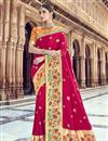 image of Silk Fabric Red Traditional Wear Designer Weaving Work Saree With Heavy Blouse