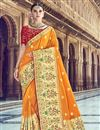 image of Traditional Wear Mustard Designer Weaving Work Saree With Heavy Blouse In Silk Fabric