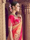 photo of Peach Traditional Wear Designer Weaving Work Silk Fabric Saree With Heavy Blouse