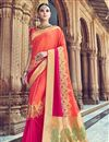 image of Peach Traditional Wear Designer Weaving Work Silk Fabric Saree With Heavy Blouse