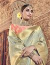 photo of Traditional Wear Grey Designer Silk Fabric Weaving Work Saree With Heavy Blouse