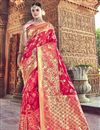 image of Red Traditional Wear Silk Designer Weaving Work Saree With Heavy Blouse