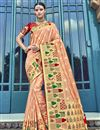 image of Traditional Wear Peach Silk Designer Weaving Work Saree With Heavy Blouse