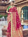 image of Rani Color Silk Traditional Wear Designer Weaving Work Saree With Heavy Blouse