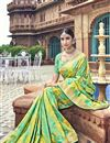 photo of Traditional Wear Silk Designer Weaving Work Saree With Heavy Blouse In Sea Green