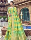 image of Traditional Wear Silk Designer Weaving Work Saree With Heavy Blouse In Sea Green