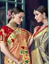 photo of Silk Traditional Wear Designer Weaving Work Grey Saree With Heavy Blouse