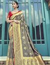 image of Silk Traditional Wear Designer Weaving Work Grey Saree With Heavy Blouse