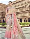 image of Traditional Wear Silk Designer Chikoo Color Weaving Work Saree With Heavy Blouse