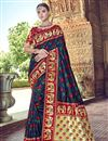 image of Silk Traditional Wear Navy Blue Designer Weaving Work Saree With Heavy Blouse