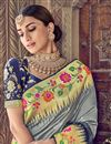 photo of Silk Grey Traditional Wear Designer Weaving Work Saree With Heavy Blouse