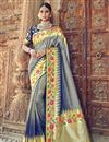 image of Silk Grey Traditional Wear Designer Weaving Work Saree With Heavy Blouse