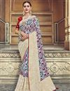 image of Traditional Wear Silk Fabric Designer Weaving Work Saree With Fancy Blouse In Off White