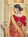 photo of Silk Fabric Traditional Wear Designer Weaving Work Peach Saree With Fancy Blouse