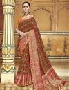 image of Silk Fabric Maroon Traditional Wear Designer Weaving Work Saree With Fancy Blouse