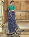photo of Traditional Wear Navy Blue Designer Weaving Work Saree With Fancy Blouse In Silk Fabric
