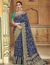 image of Traditional Wear Navy Blue Designer Weaving Work Saree With Fancy Blouse In Silk Fabric