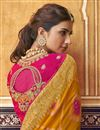 photo of Eid Special Trendy Orange Art Silk Function Wear Weaving Work Saree With Embroidered Blouse