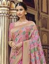 photo of Pink Fancy Art Silk Function Wear Weaving Work Saree With Embroidered Blouse