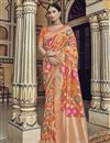 image of Orange Function Wear Fancy Art Silk Weaving Work Saree With Embroidered Blouse