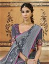 photo of Art Silk Function Wear Fancy Grey Weaving Work Saree With Embroidered Blouse