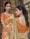 photo of Fancy Beige Art Silk Function Wear Weaving Work Saree With Embroidered Blouse