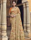 image of Eid Special Art Silk Function Wear Fancy Beige Weaving Work Saree With Embroidered Blouse