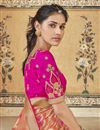 photo of Eid Special Trendy Art Silk Function Wear Peach Weaving Work Saree With Embroidered Blouse