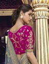 photo of Eid Special Trendy Art Silk Function Wear Grey Weaving Work Saree With Embroidered Blouse