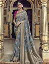 image of Eid Special Trendy Art Silk Function Wear Grey Weaving Work Saree With Embroidered Blouse