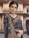 photo of Navy Blue Silk Fabric Designer Function Wear Weaving Work Saree With Embroidered Blouse