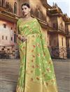 image of Eid Special Designer Silk Fabric Sea Green Function Wear Weaving Work Saree With Embroidered Blouse