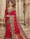 image of Eid Special Trendy Sangeet Wear Art Silk Fabric Red Weaving Work Saree
