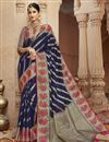 image of Eid Special Trendy Sangeet Wear Art Silk Fabric Navy Blue Weaving Work Saree