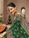 photo of Trendy Sangeet Wear Dark Green Art Silk Fabric Weaving Work Saree