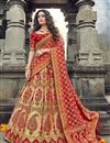 image of Beige Function Wear Traditional Embroidered Lehenga In Art Silk Fabric