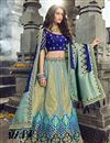 image of Eid Special Function Wear Art Silk Fabric Embroidered Cyan Traditional Lehenga Choli