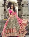 image of Eid Special Art Silk Fabric Function Wear Traditional Embroidered Grey Lehenga