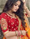 picture of Art Silk Fabric Function Wear Traditional Embroidered Lehenga In Orange