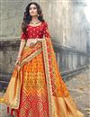 image of Art Silk Fabric Function Wear Traditional Embroidered Lehenga In Orange