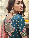 photo of Traditional Embroidered Art Silk Fabric Function Wear Teal Lehenga Choli