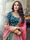 picture of Traditional Embroidered Art Silk Fabric Function Wear Teal Lehenga Choli