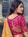 photo of Eid Special Art Silk Fabric Function Wear Rani Color Embroidered Traditional Lehenga