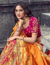 picture of Eid Special Art Silk Fabric Function Wear Rani Color Embroidered Traditional Lehenga