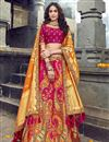 image of Eid Special Art Silk Fabric Function Wear Rani Color Embroidered Traditional Lehenga