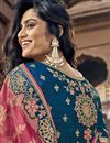 photo of Traditional Navy Blue Sangeet Wear Designer Art Silk Weaving Work Half N Half Saree