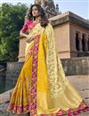 image of Eid Special Traditional Yellow Sangeet Wear Designer Weaving Work Half-Half Saree In Art Silk