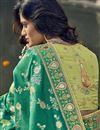 photo of Eid Special Sea Green Art Silk Traditional Sangeet Wear Designer Weaving Work Half-Half Saree