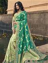image of Eid Special Sea Green Art Silk Traditional Sangeet Wear Designer Weaving Work Half-Half Saree
