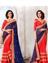 image of Ebullient Navy Blue And Orange Color Designer Sare